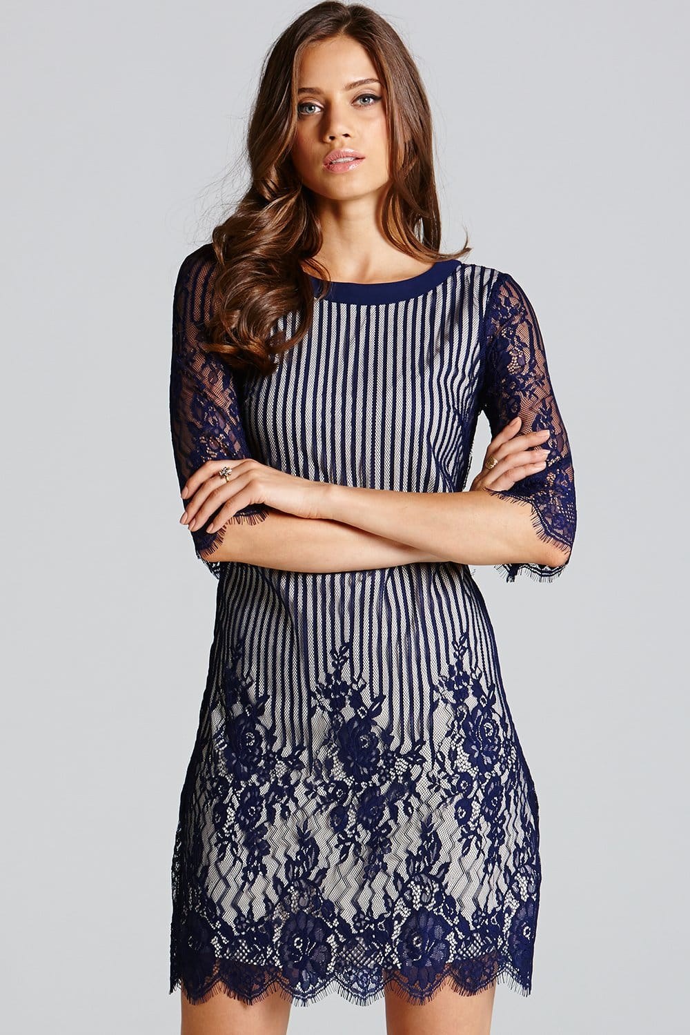 Little Mistress Navy Stripe Lace Long Sleeve Tunic Dress