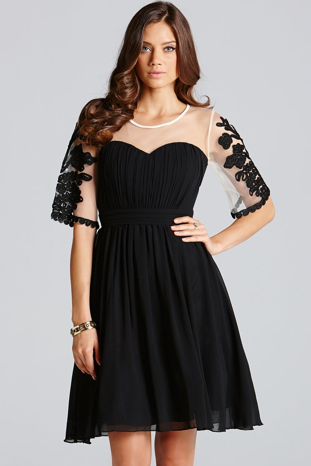 Black Chiffon Embroidered Fit And Flare Dress From