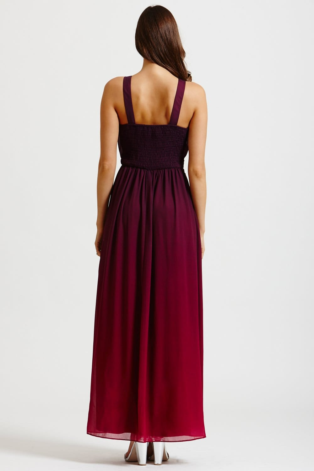 Little Mistress Two Tone Pink And Purple Embellished Maxi