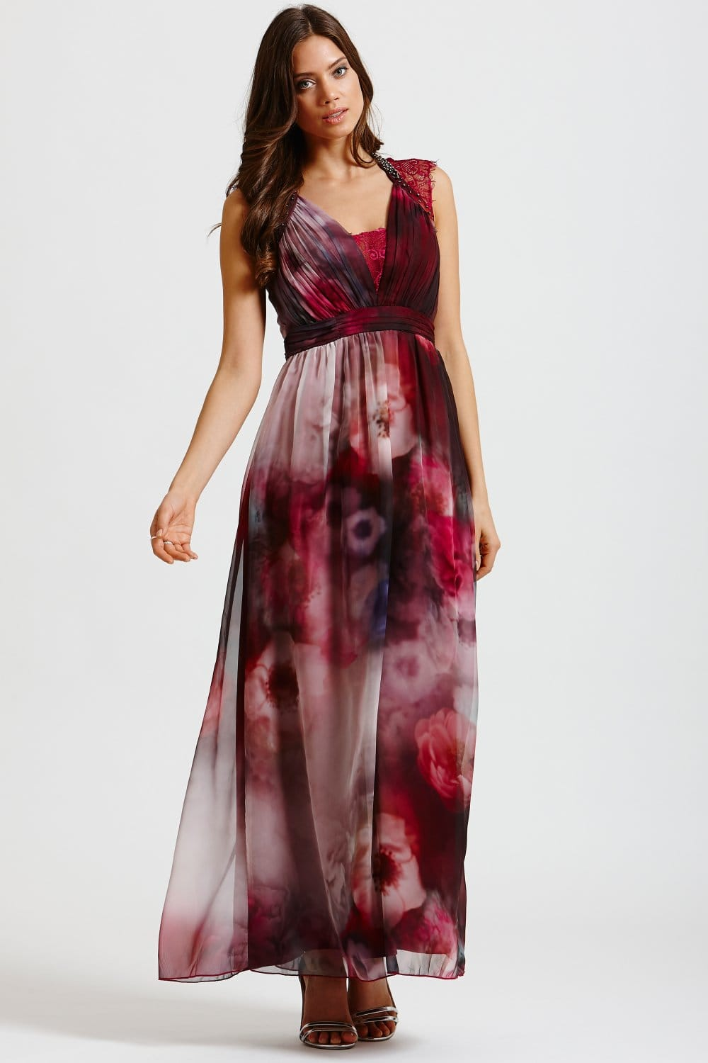 Little Mistress Berry Watercolour Lace Shoulder Maxi Dress - Little Mistress from Little Mistress UK