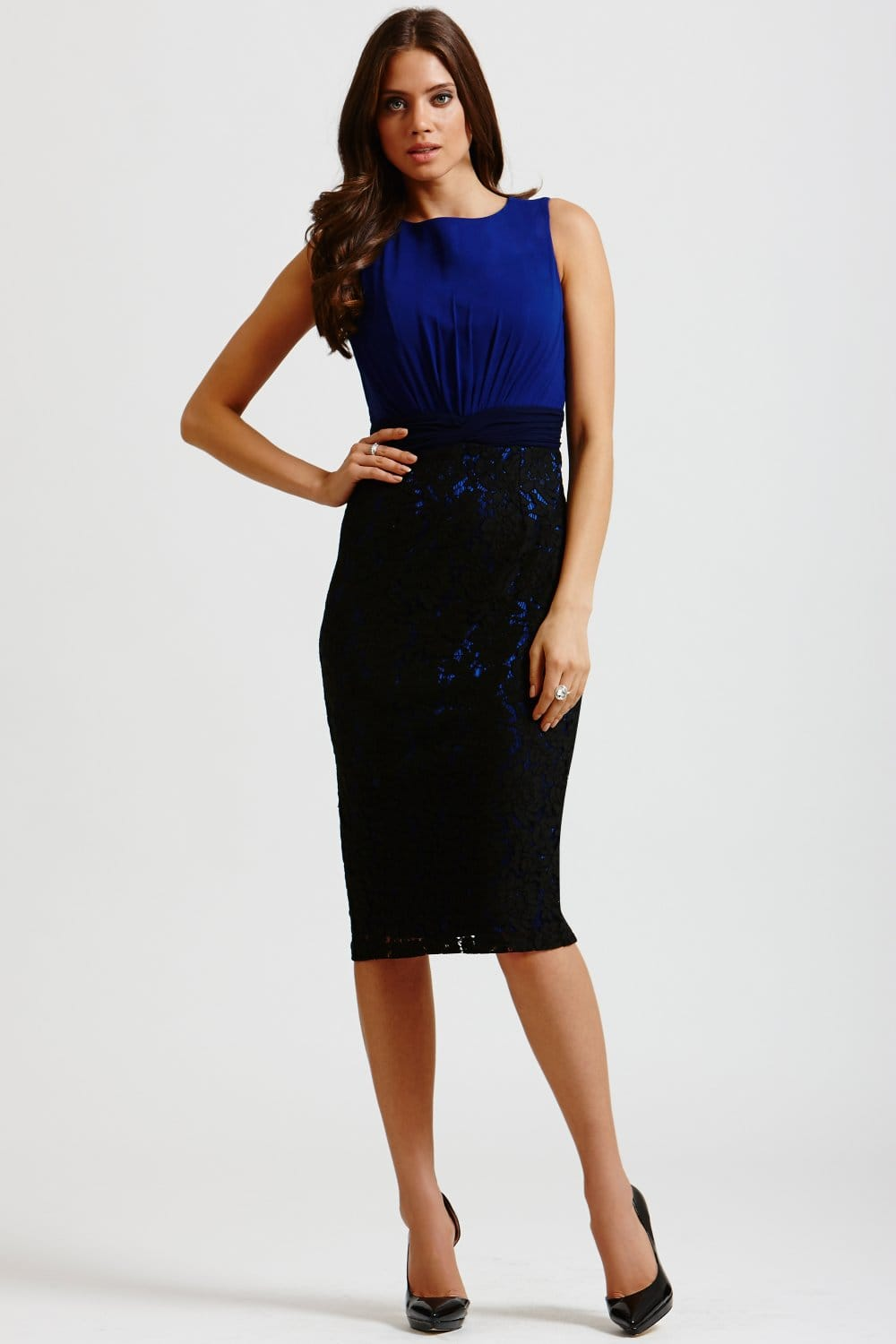 Blue And Black Lace Skirt Wiggle Dress From Little