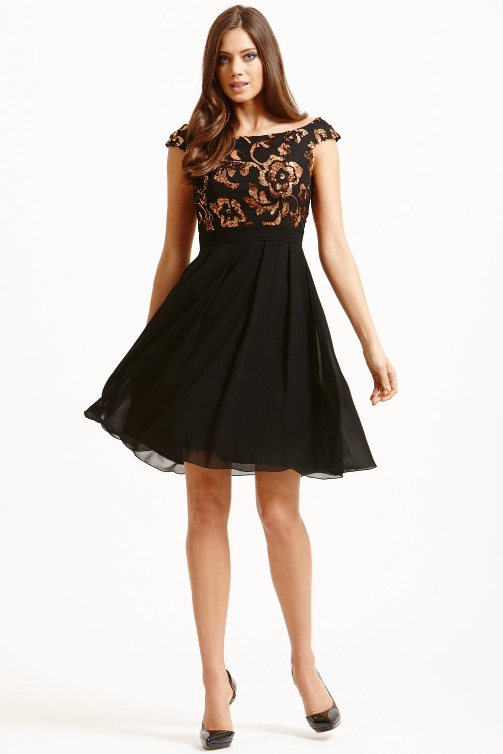 Black And Bronze Fit And Flare Dress From Little Mistress Uk
