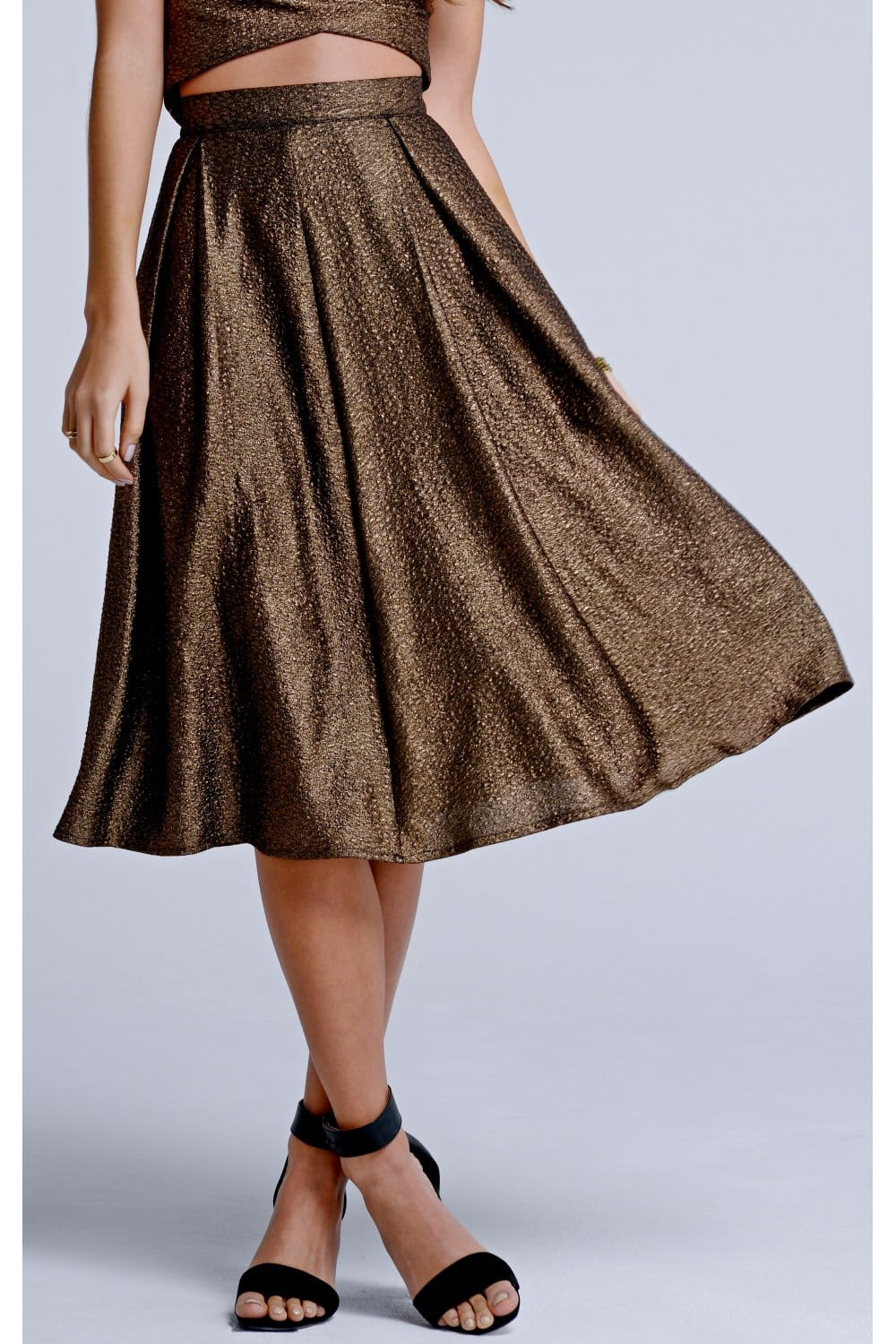 outlet on gold metallic a line skirt outlet