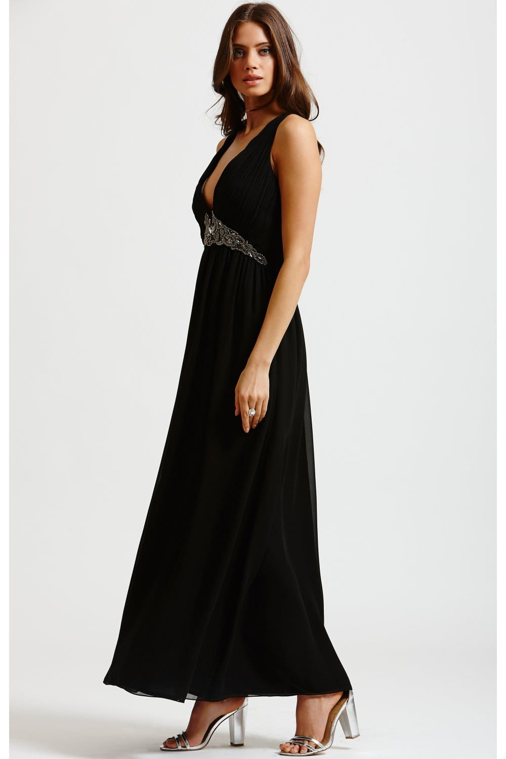Little Mistress Black Chiffon Embellished Maxi Dress