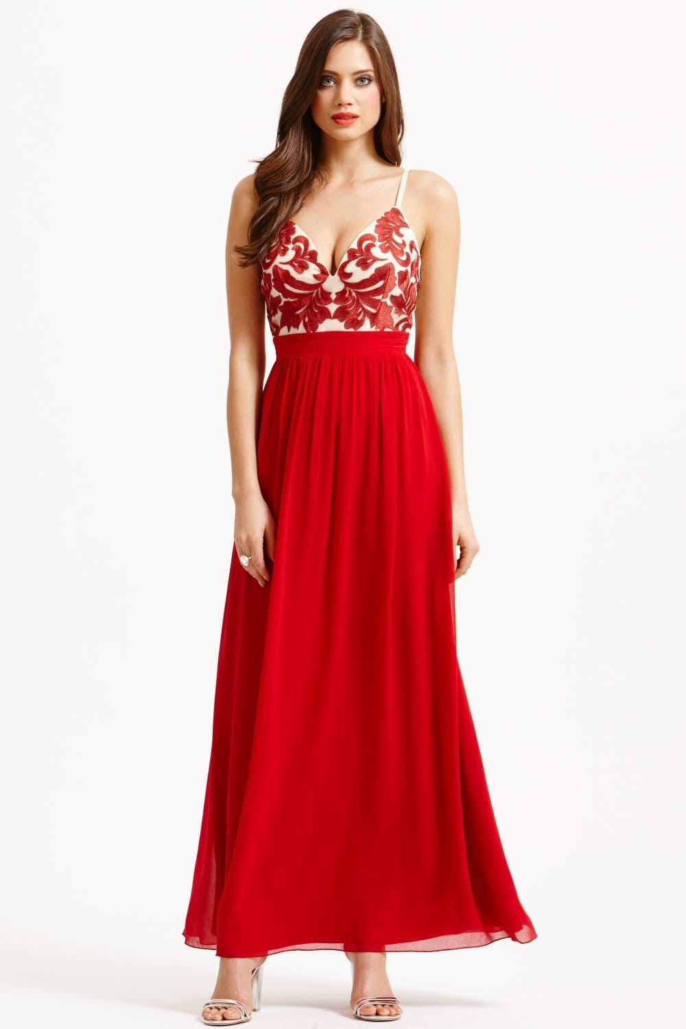 Little mistress red and cream embroidered maxi dress