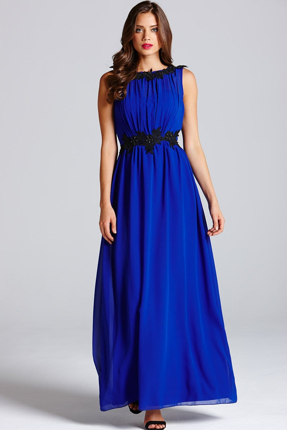 Little Mistress Blue Floral Embroidered Chiffon Maxi Dress