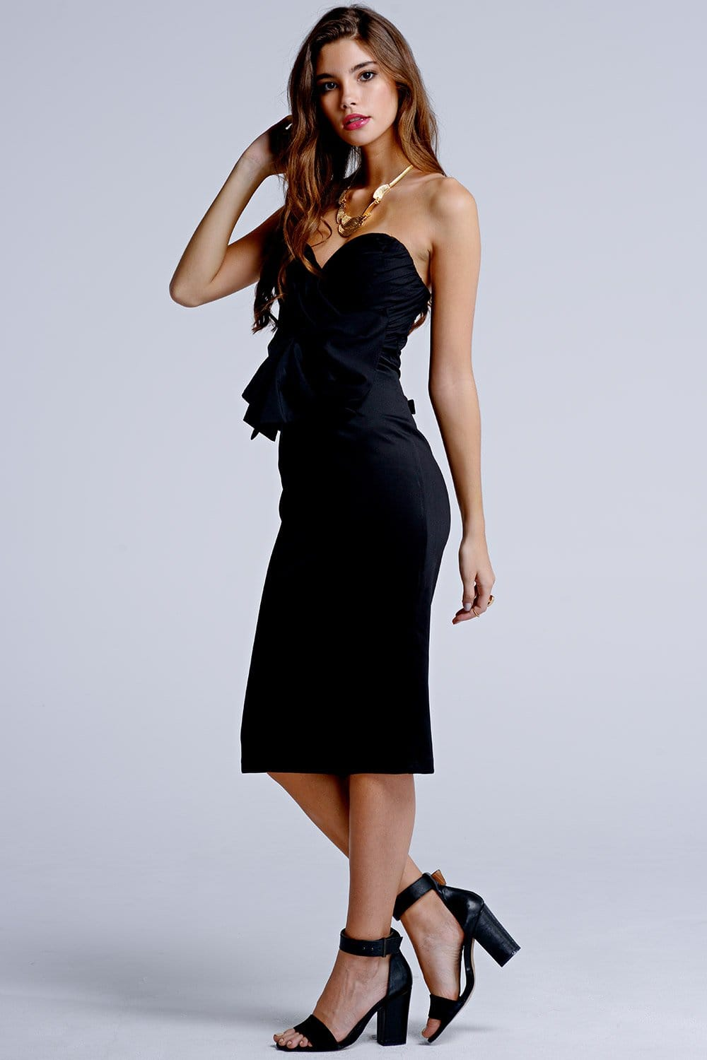Outlet Girls On Film Black Wrap Over Bow Front Dress