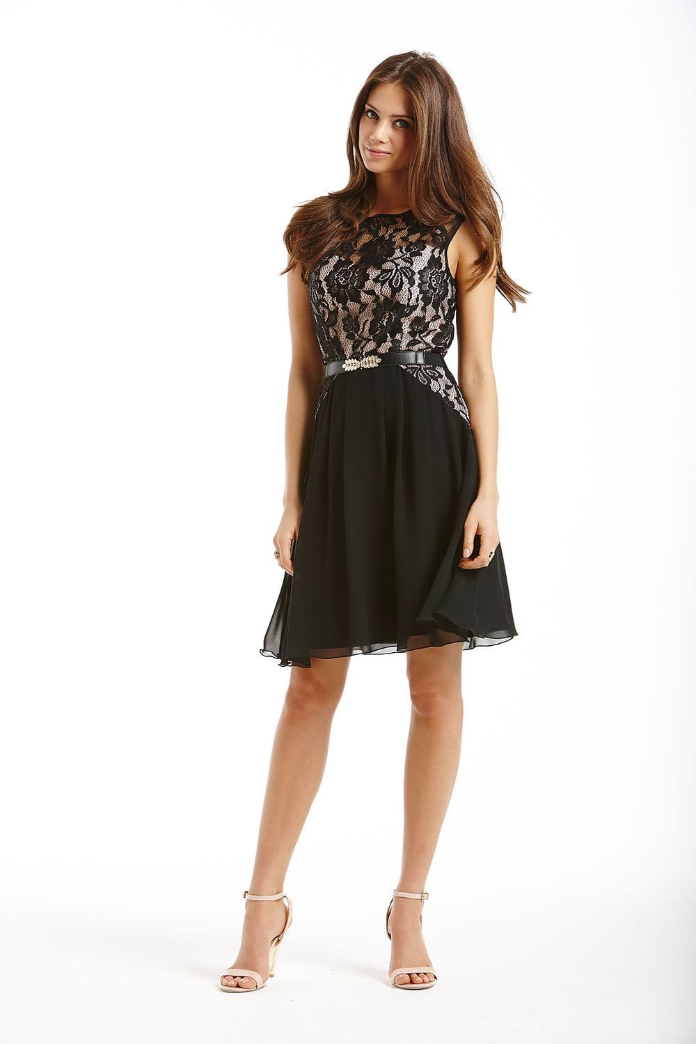 Black And Pink Layered Lace Fit And Flare Dress From