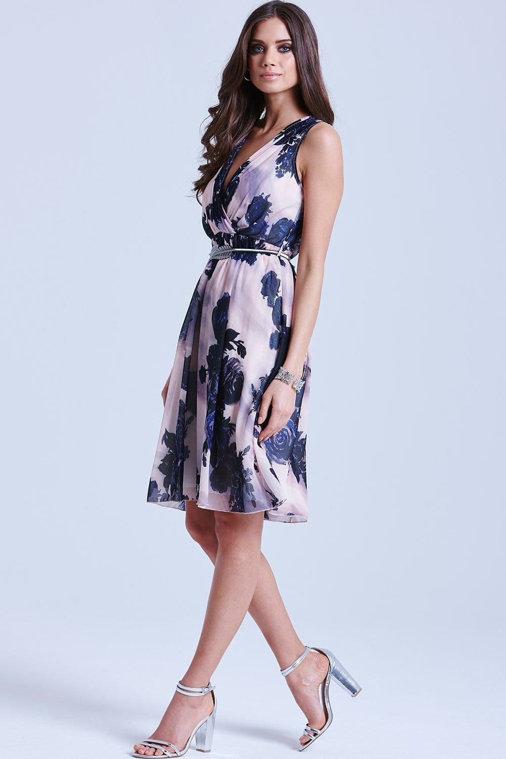 Nude and Navy Floral V Neck Dress - from Little Mistress UK