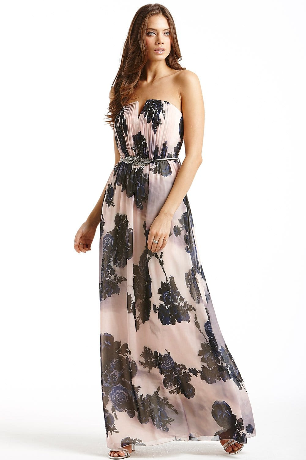 Nude and Navy Floral Maxi Dress - from Little Mistress UK
