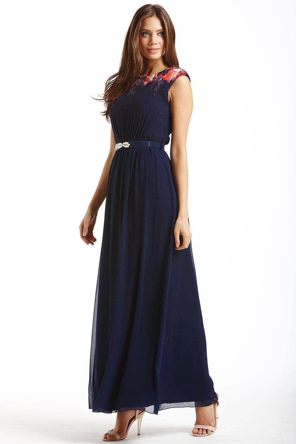 Navy Blurred Floral Chiffon Maxi Dress From Little