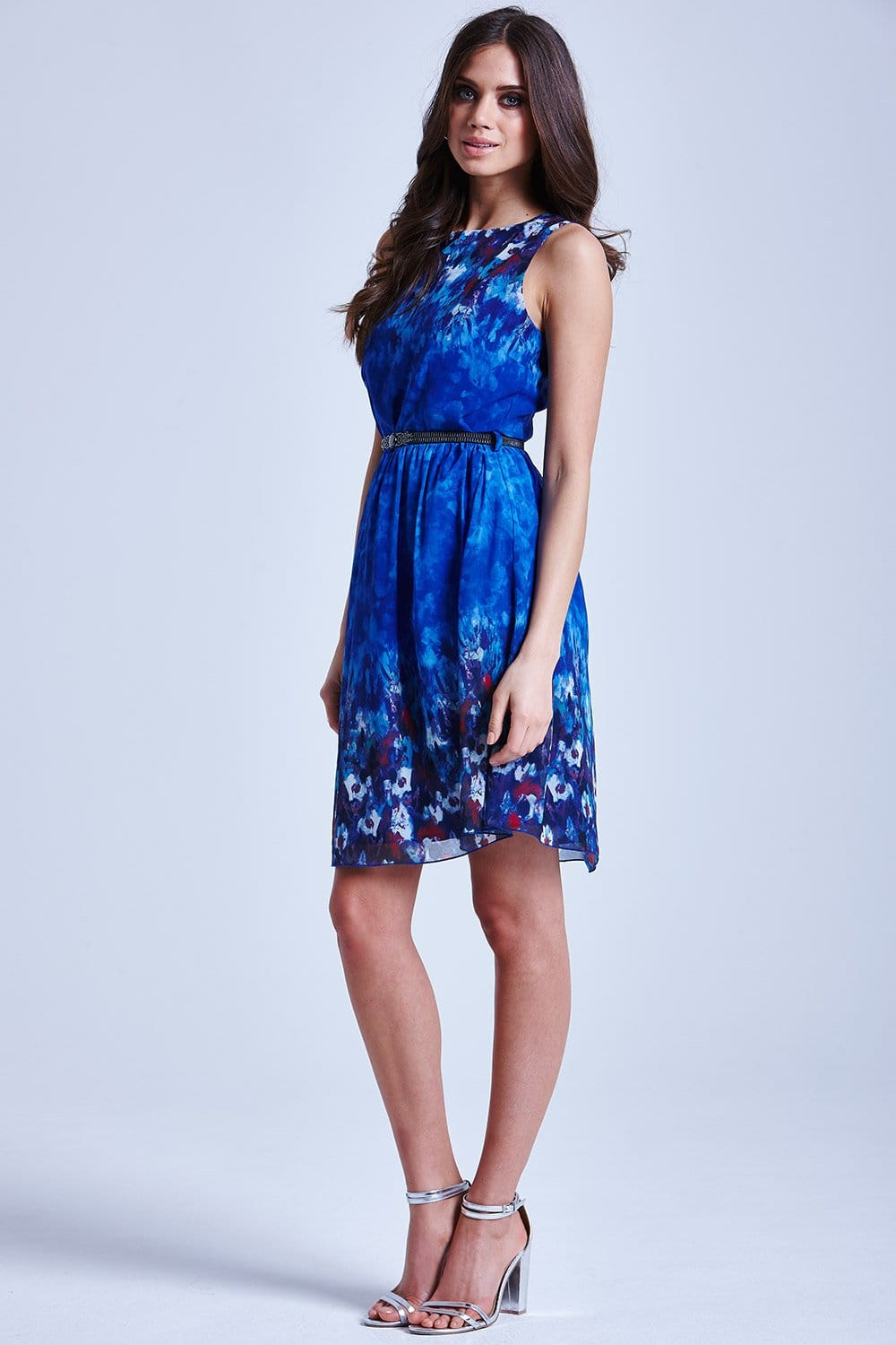 Blue Water Paint Floral Fit And Flare Dress From Little