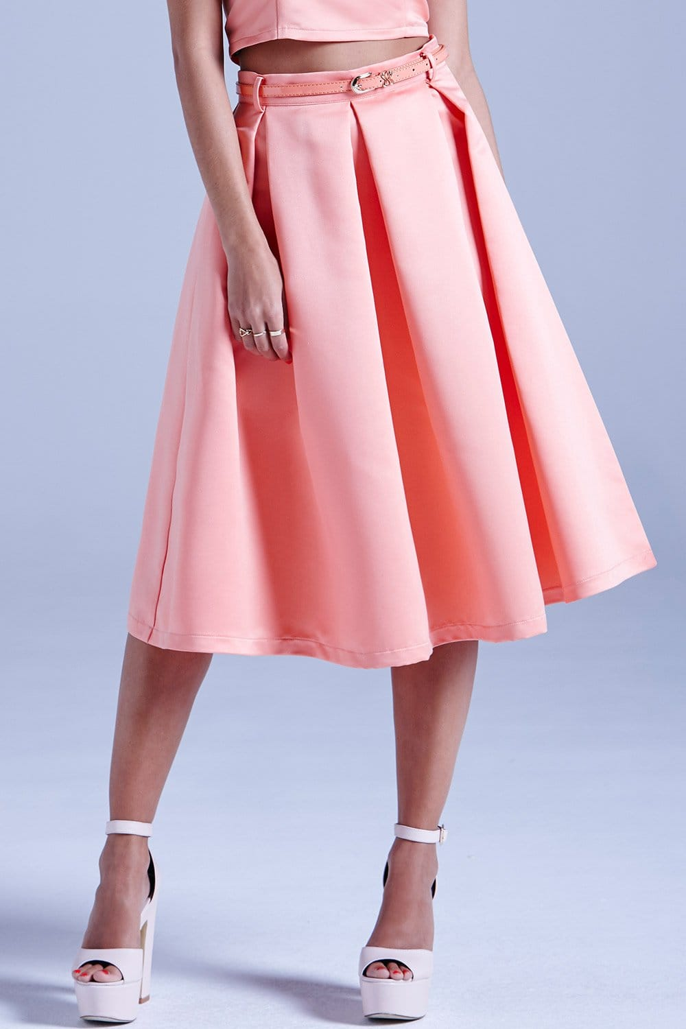 outlet on coral structured midi skirt with belt