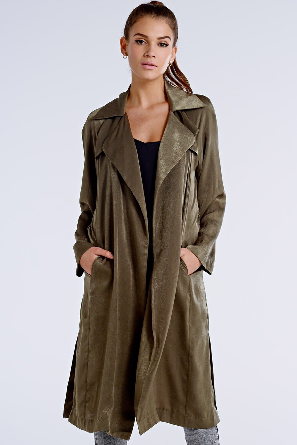 Outlet Girls On Film Khaki Satin Trench Coat Outlet
