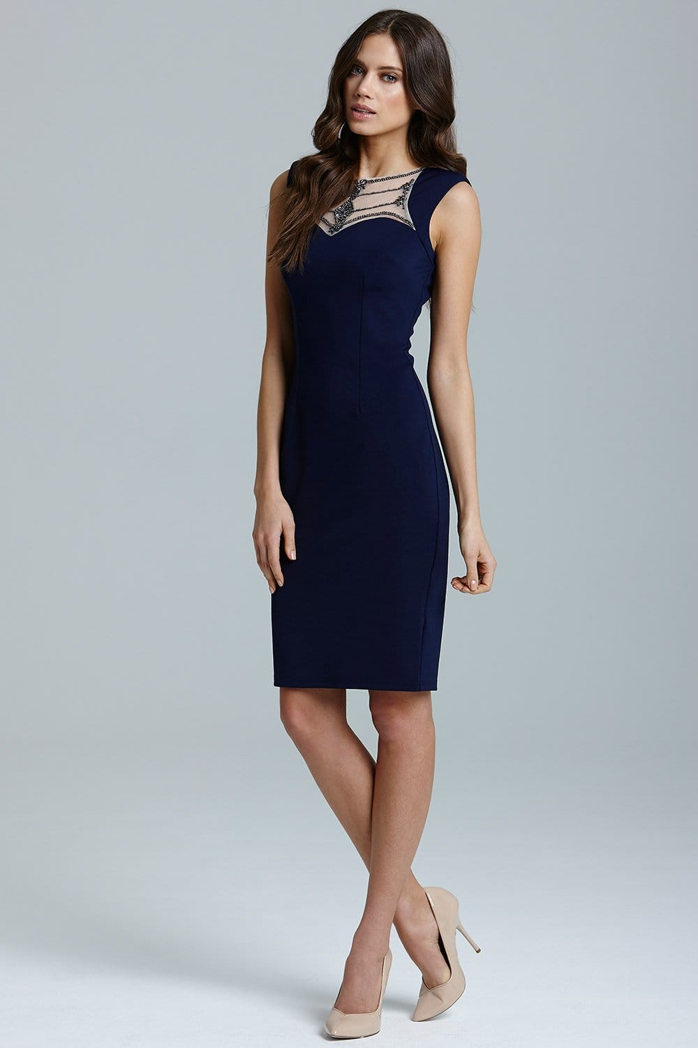 Navy Embellished Neck Stretch Midi Dress - from Little