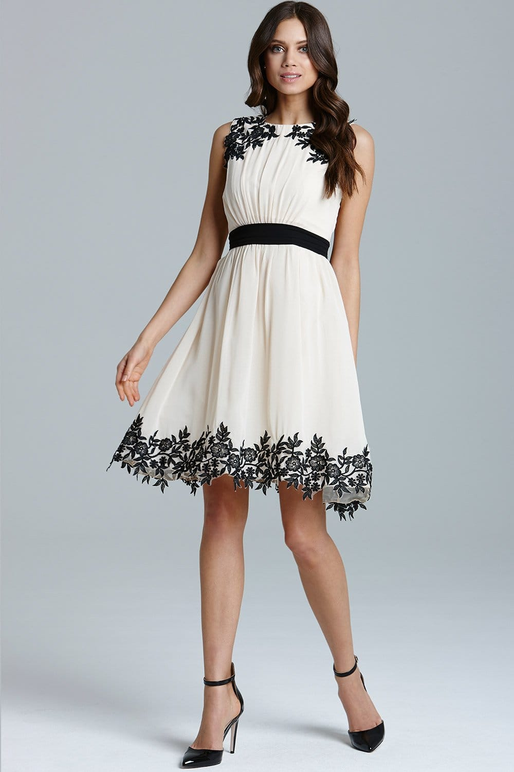 Cream Floral Applique Chiffon Prom Dress - from Little