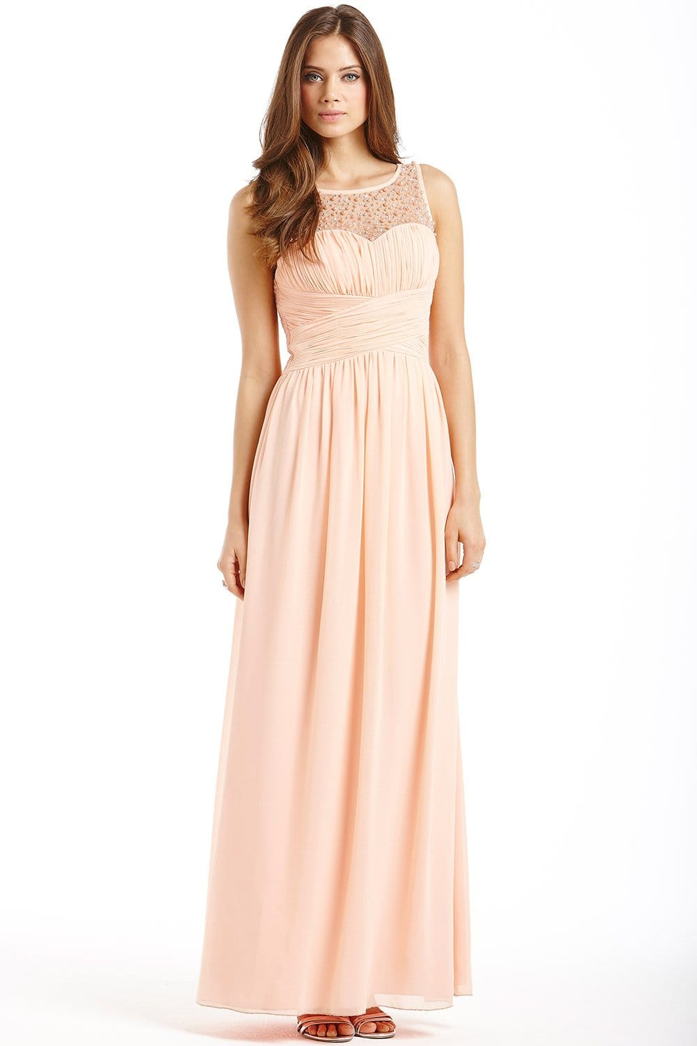 peach embellished detail maxi dress from little mistress uk. Black Bedroom Furniture Sets. Home Design Ideas