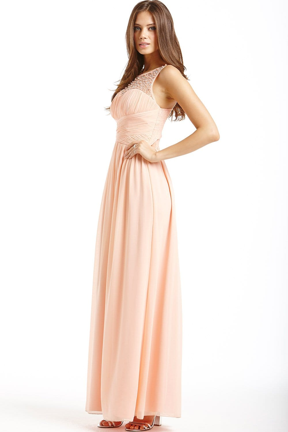 peach embellished detail maxi dress from little mistress uk
