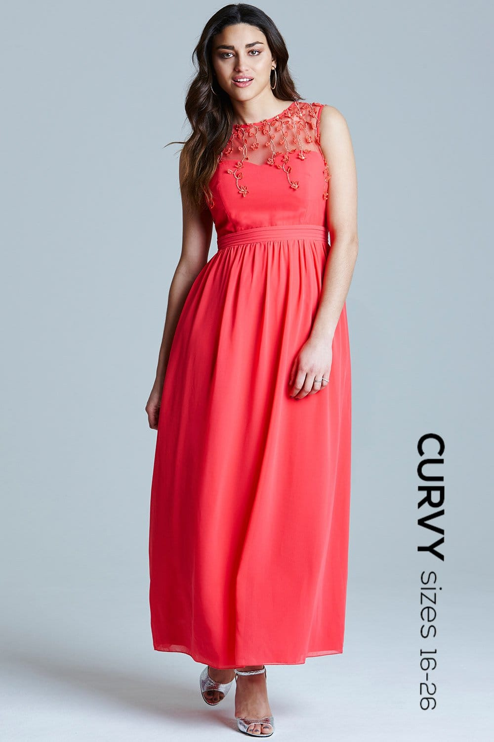 Curvy Coral Mesh Overlay Embroidered Maxi Dress From