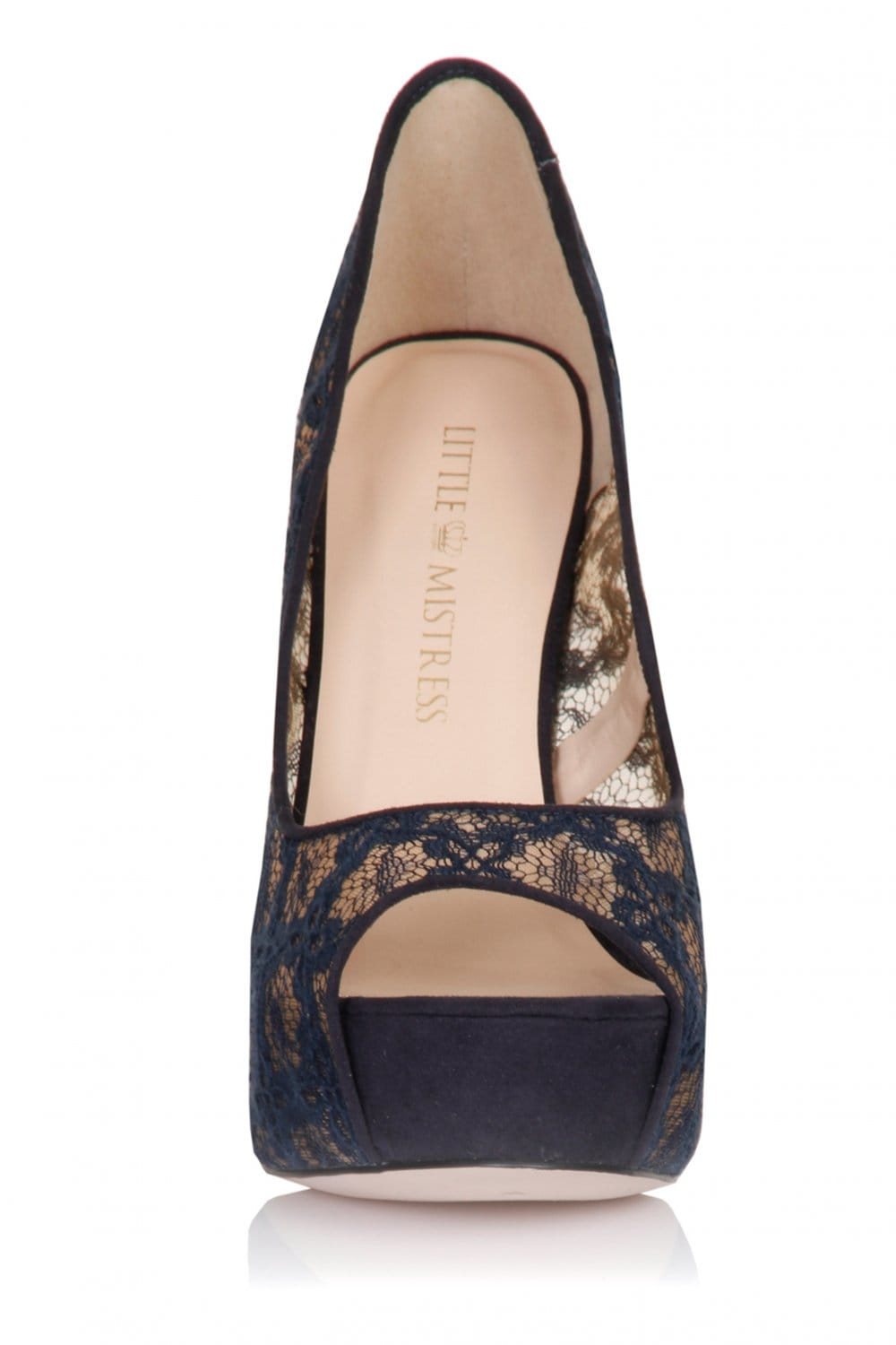 Navy Floral Lace Peep Toe Heels - from Little Mistress UK