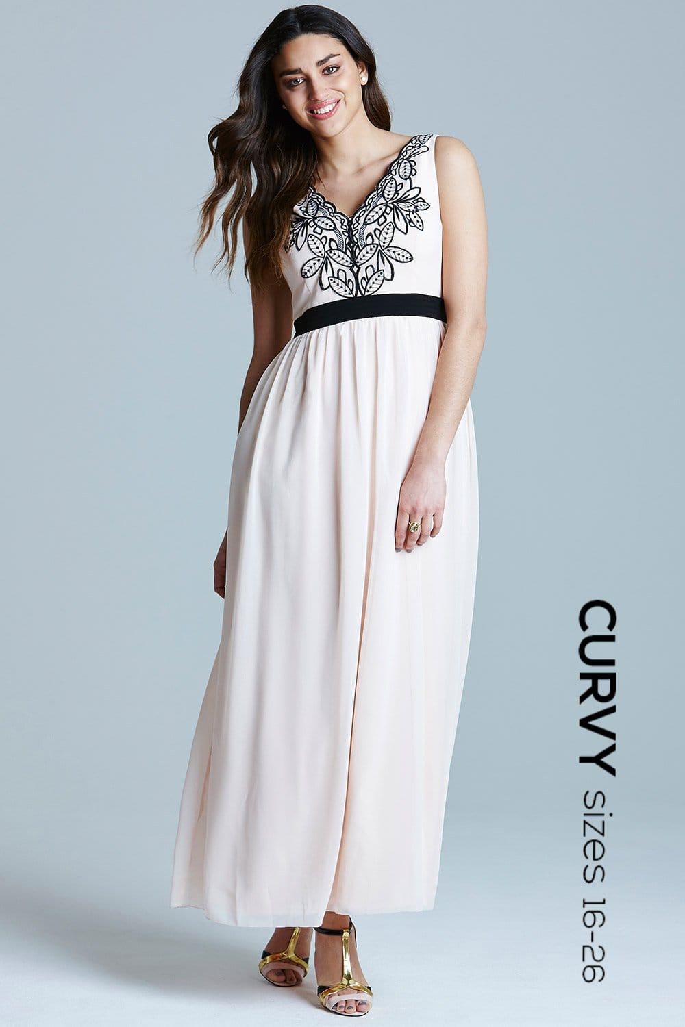 Nude and black V Neck Maxi Dress - from Little Mistress UK