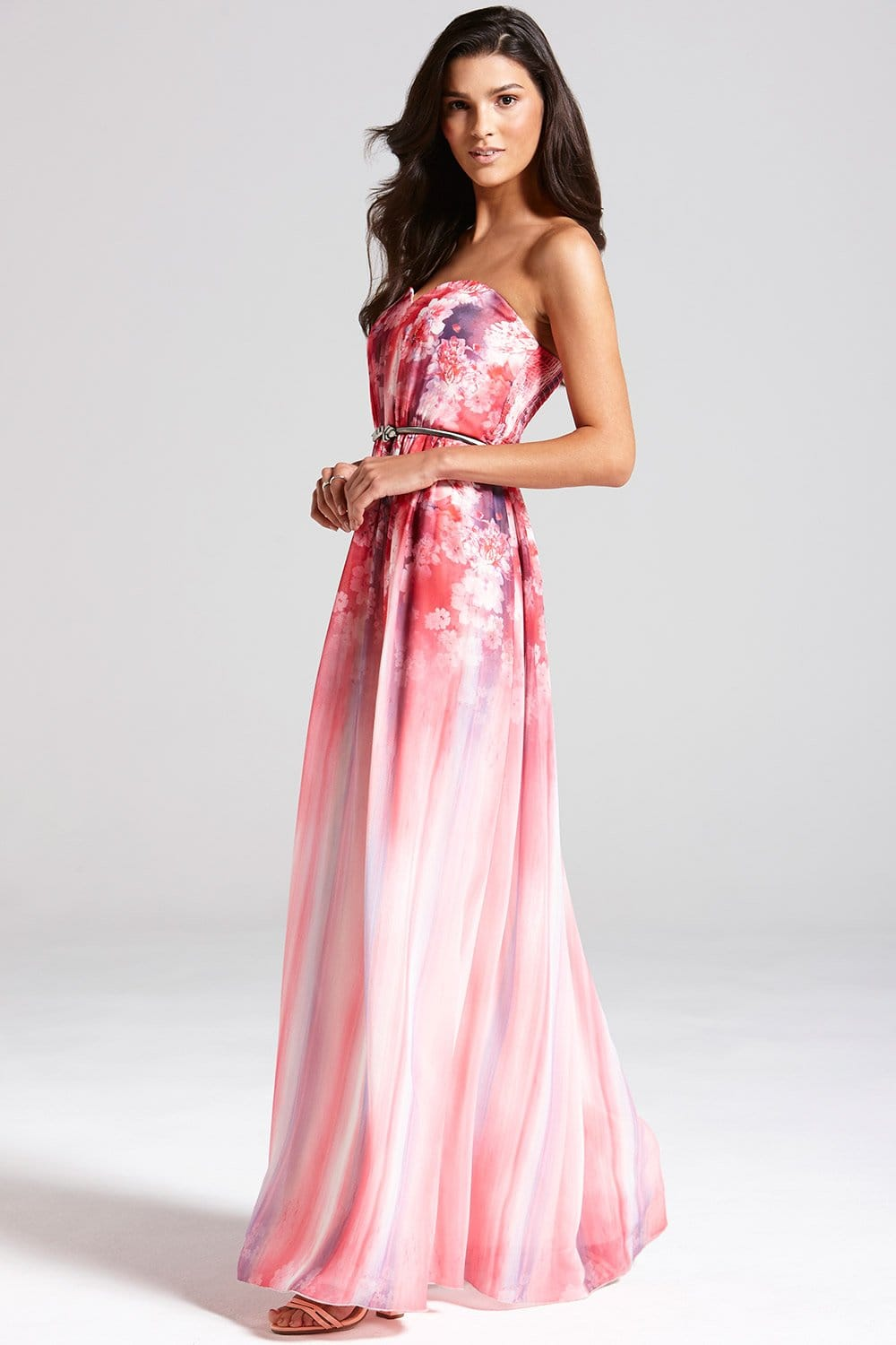 pink floral bandeau maxi dress from little mistress uk