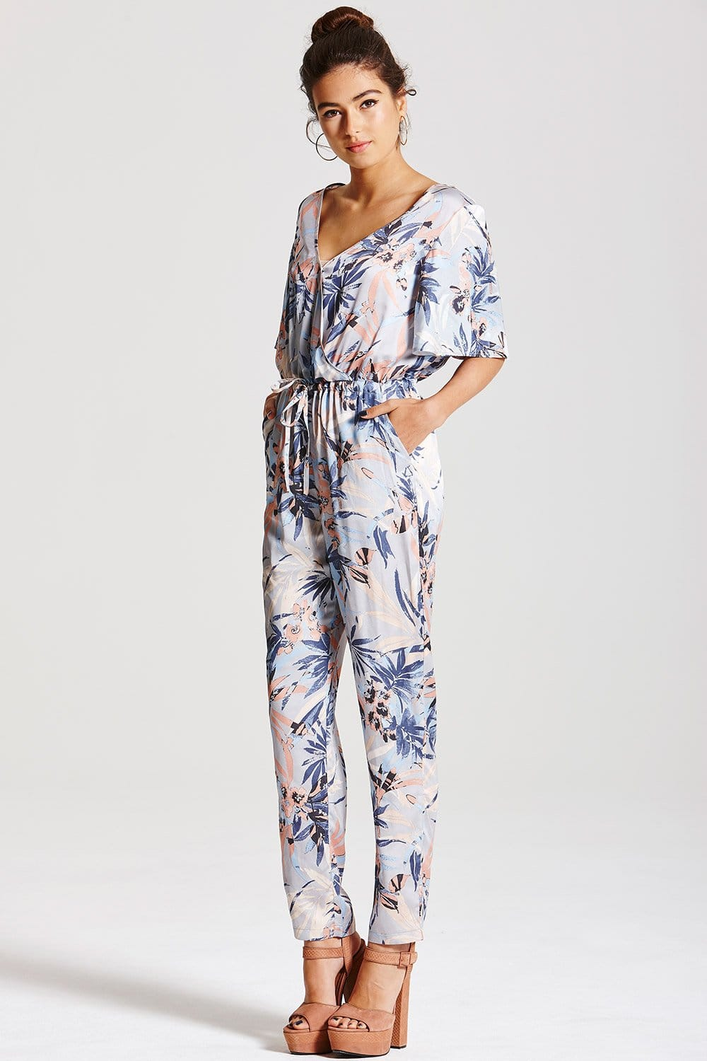 Outlet Girls On Film Pastel Floral Jumpsuit Outlet Girls
