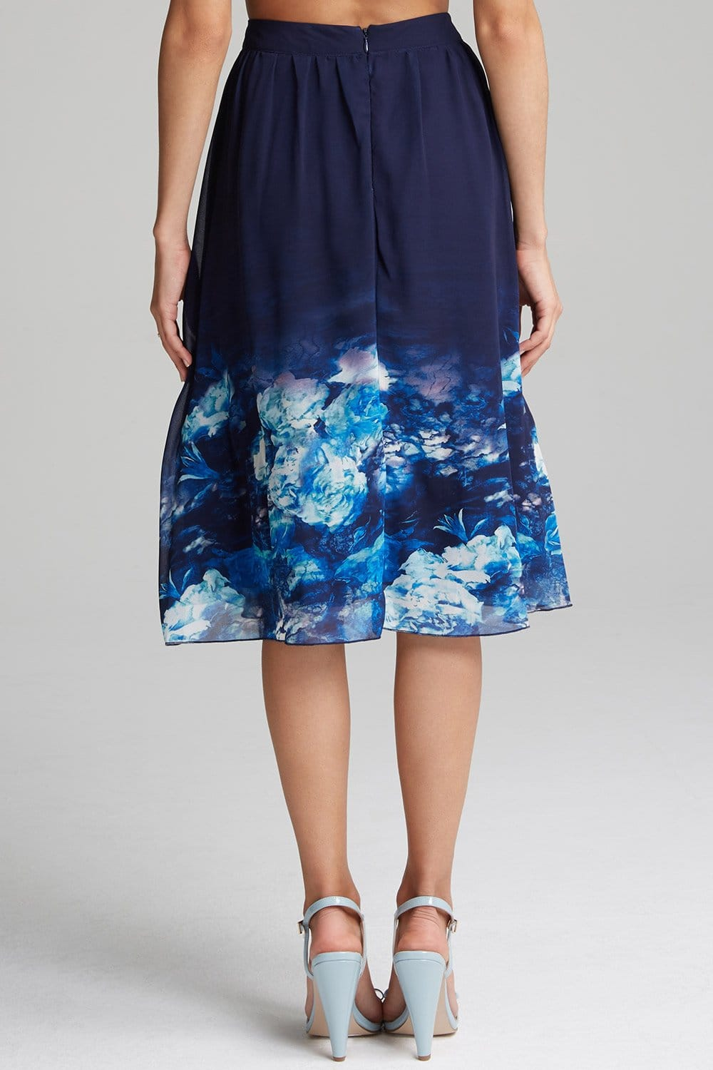 navy floral a line skirt from uk
