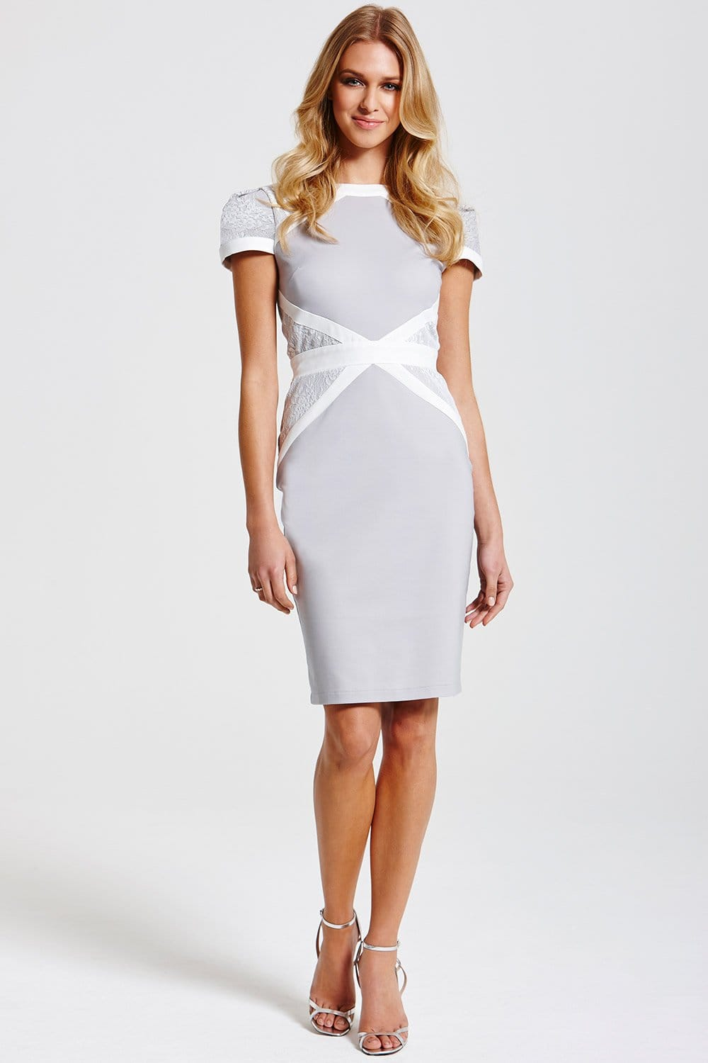 Outlet Paper Dolls Grey And White Lace Insert Dress