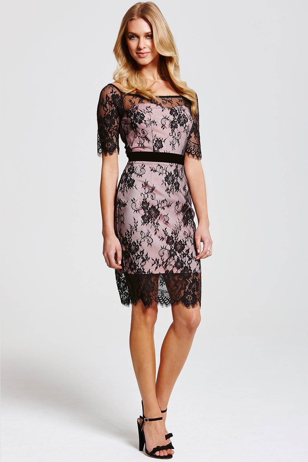 Pink with black lace dress