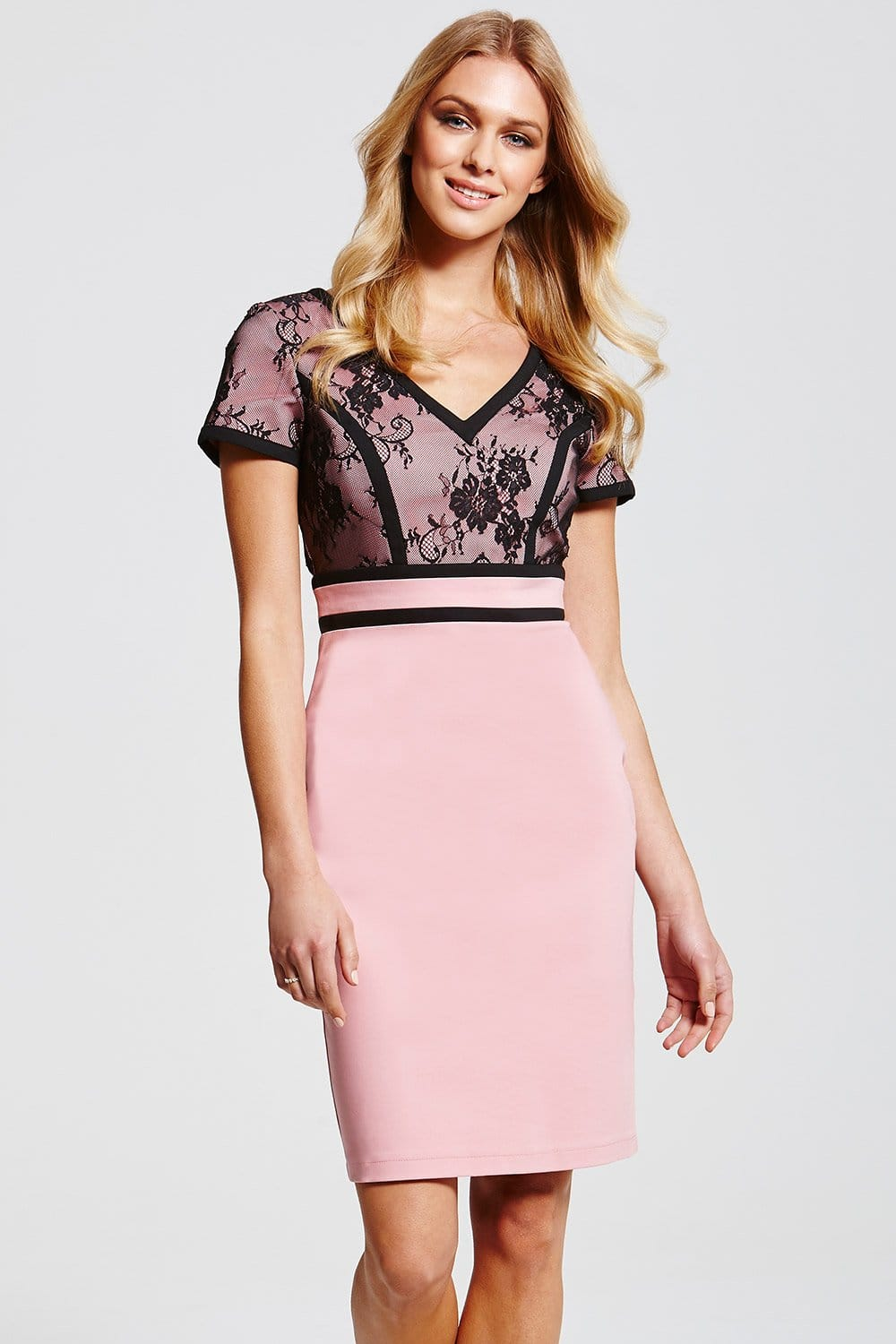 Outlet Paper Dolls Pink And Black Lace Top Dress Outlet