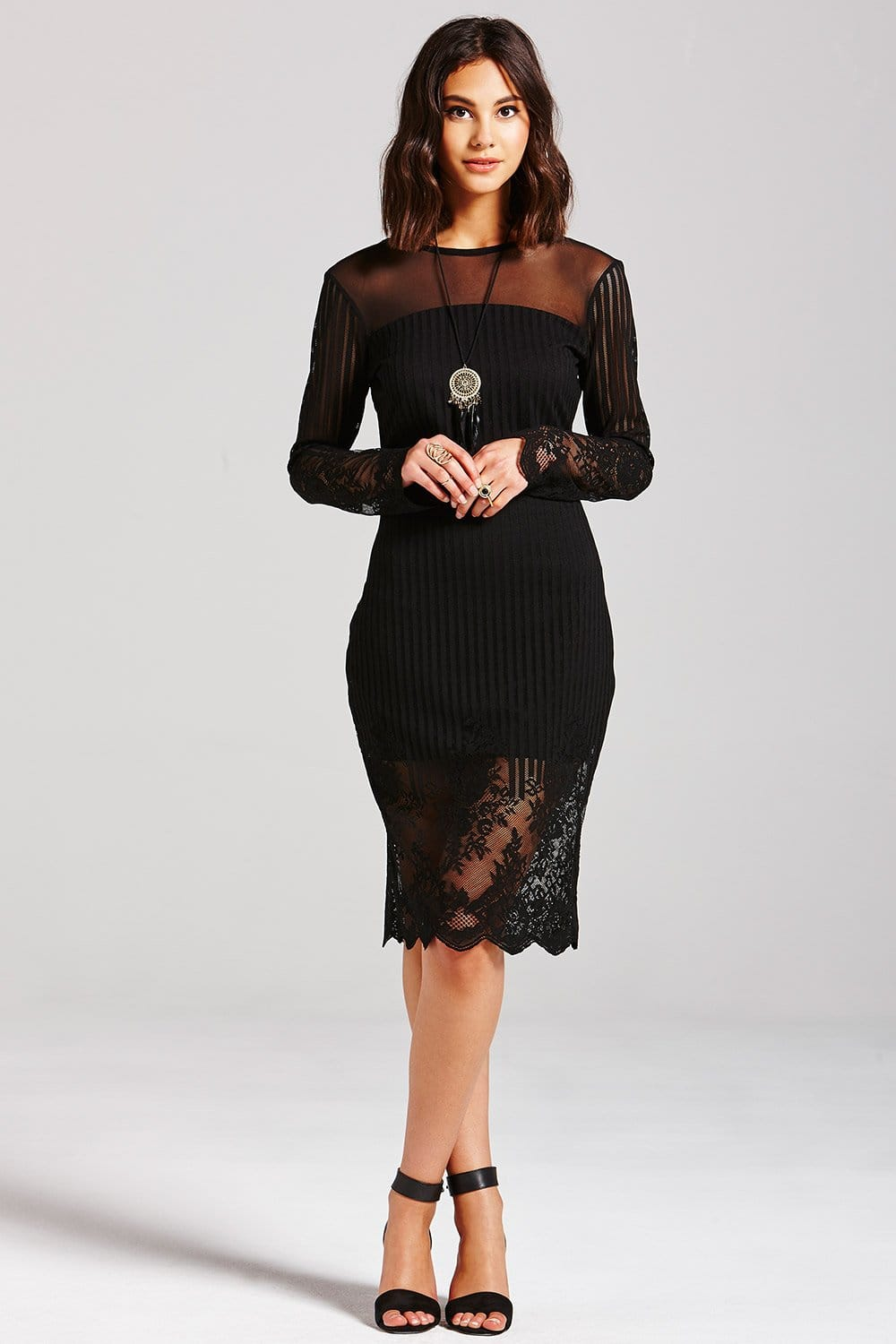 Girls On Film Black Lace 3 4 Sleeve Dress Girls On Film
