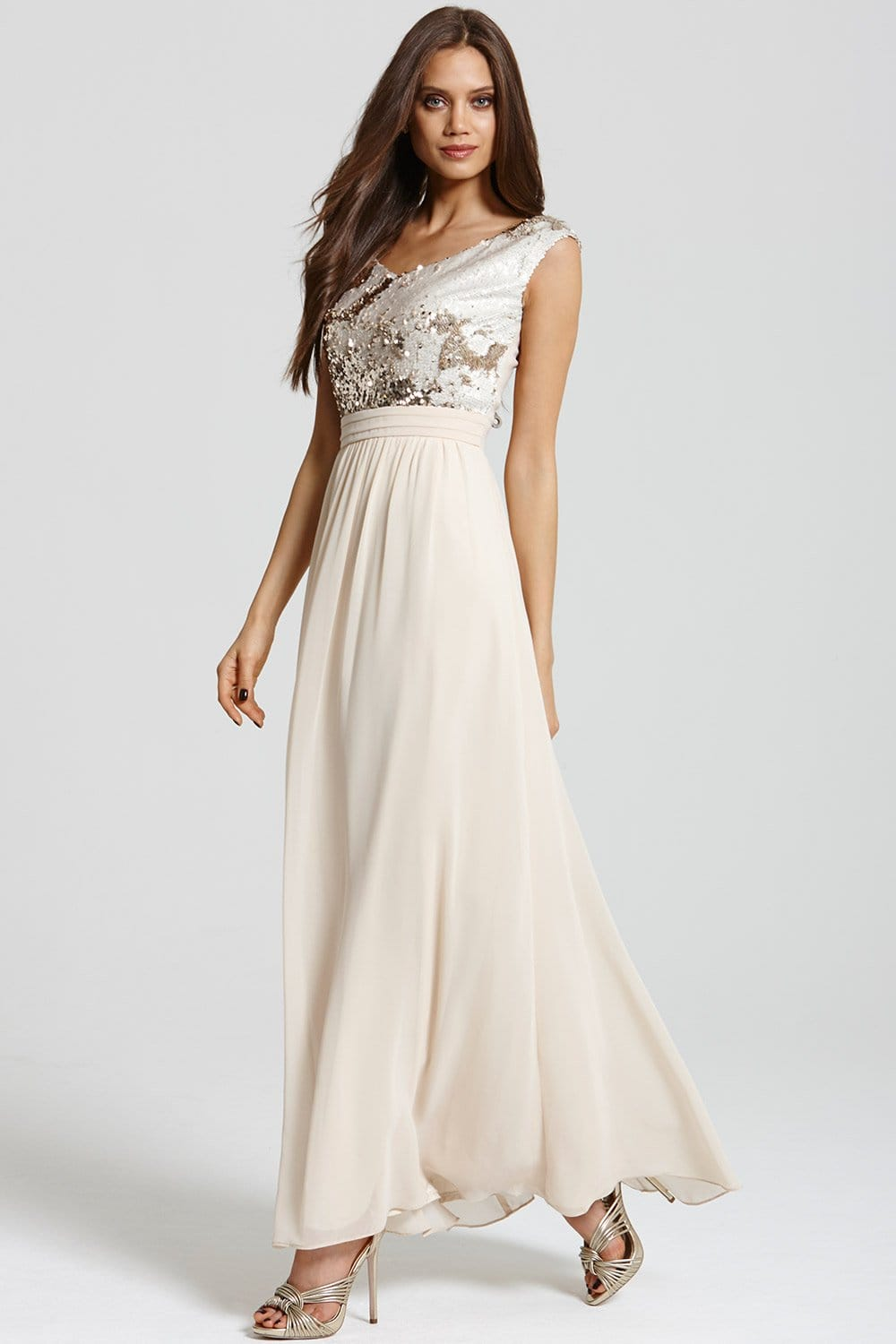 Heavily Embellished Cream And Gold Maxi
