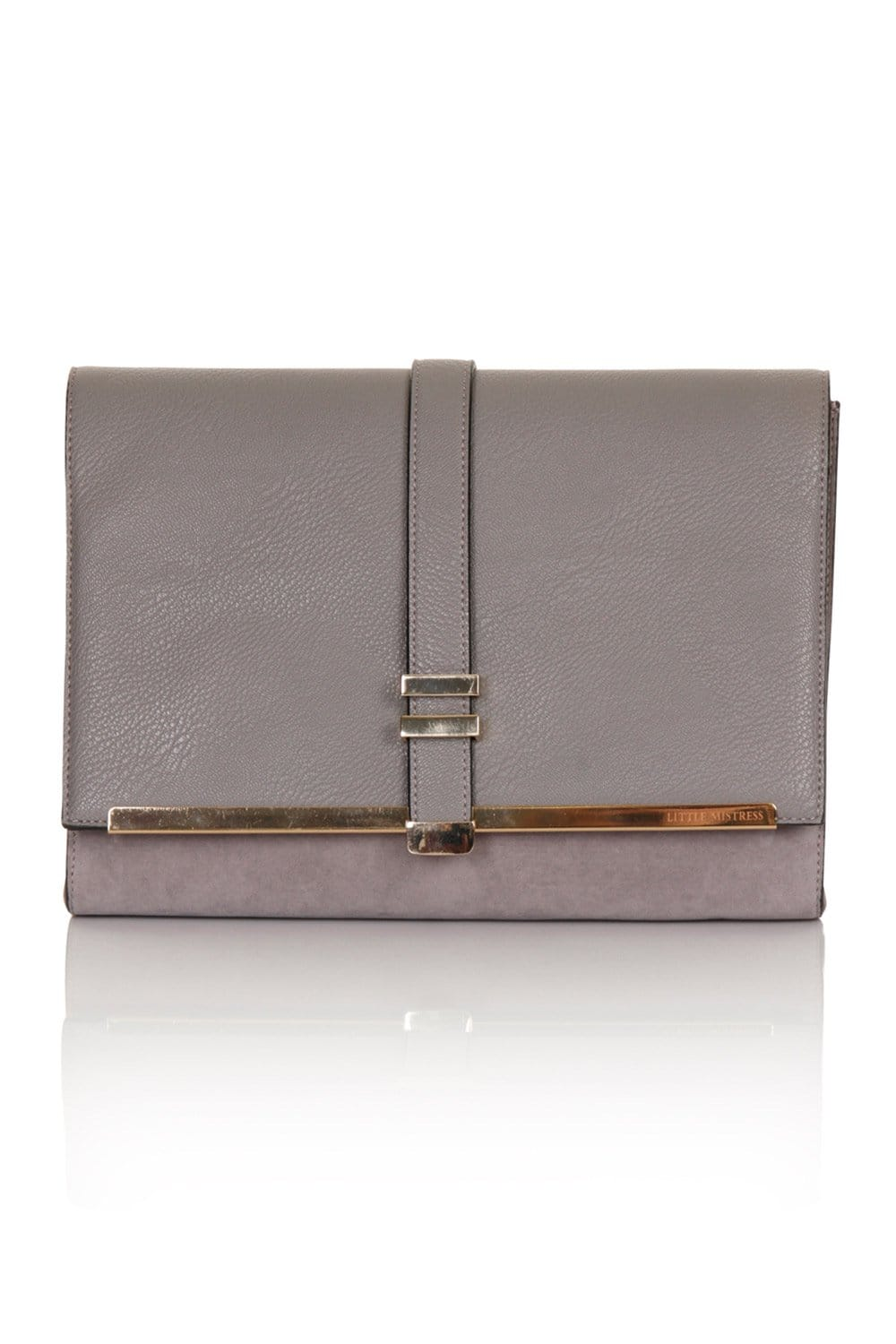 Little Mistress Handbags Grey Suede And Leather Clutch Bag