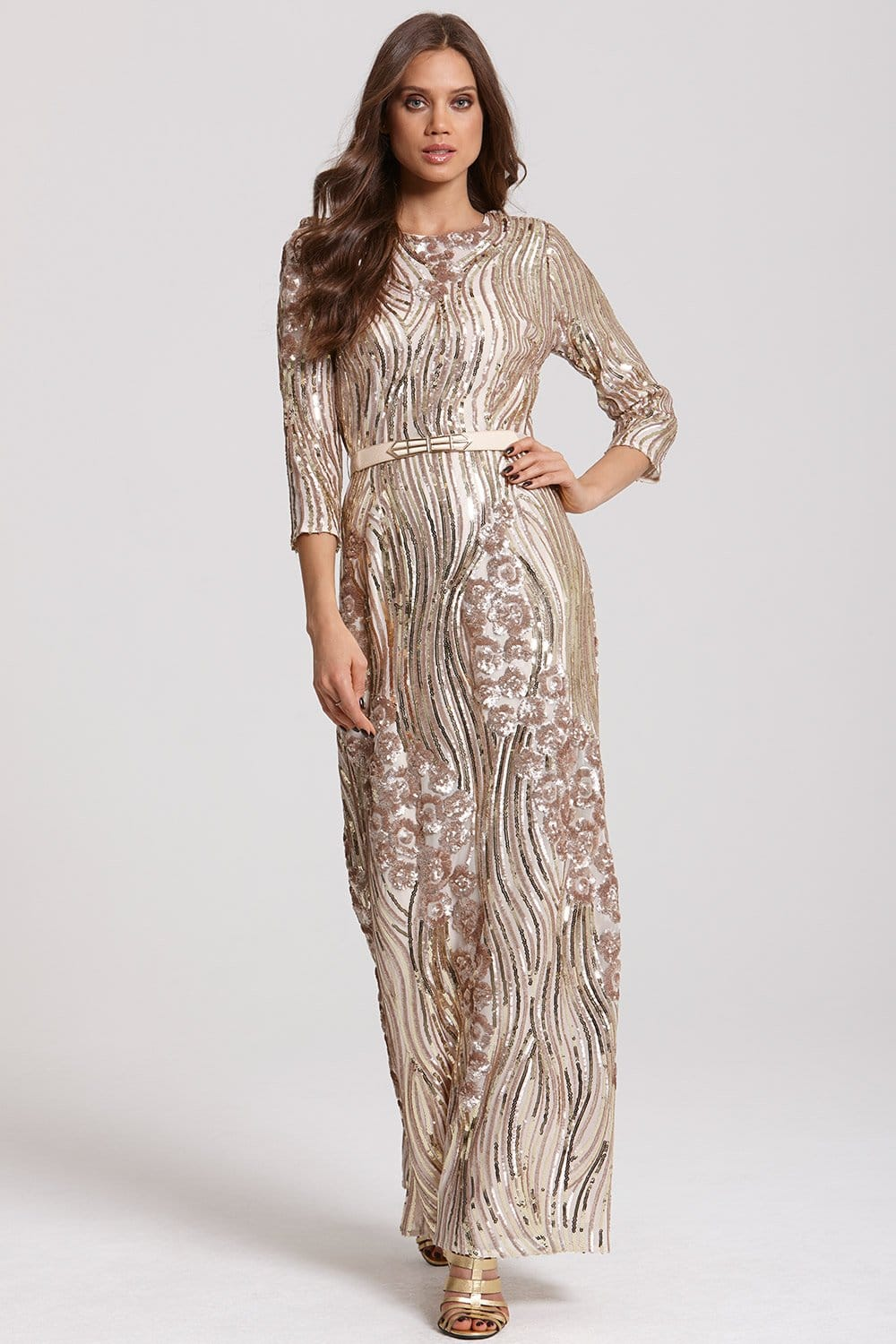 Gold And Mink Heavily Embellished Maxi Dress From Little