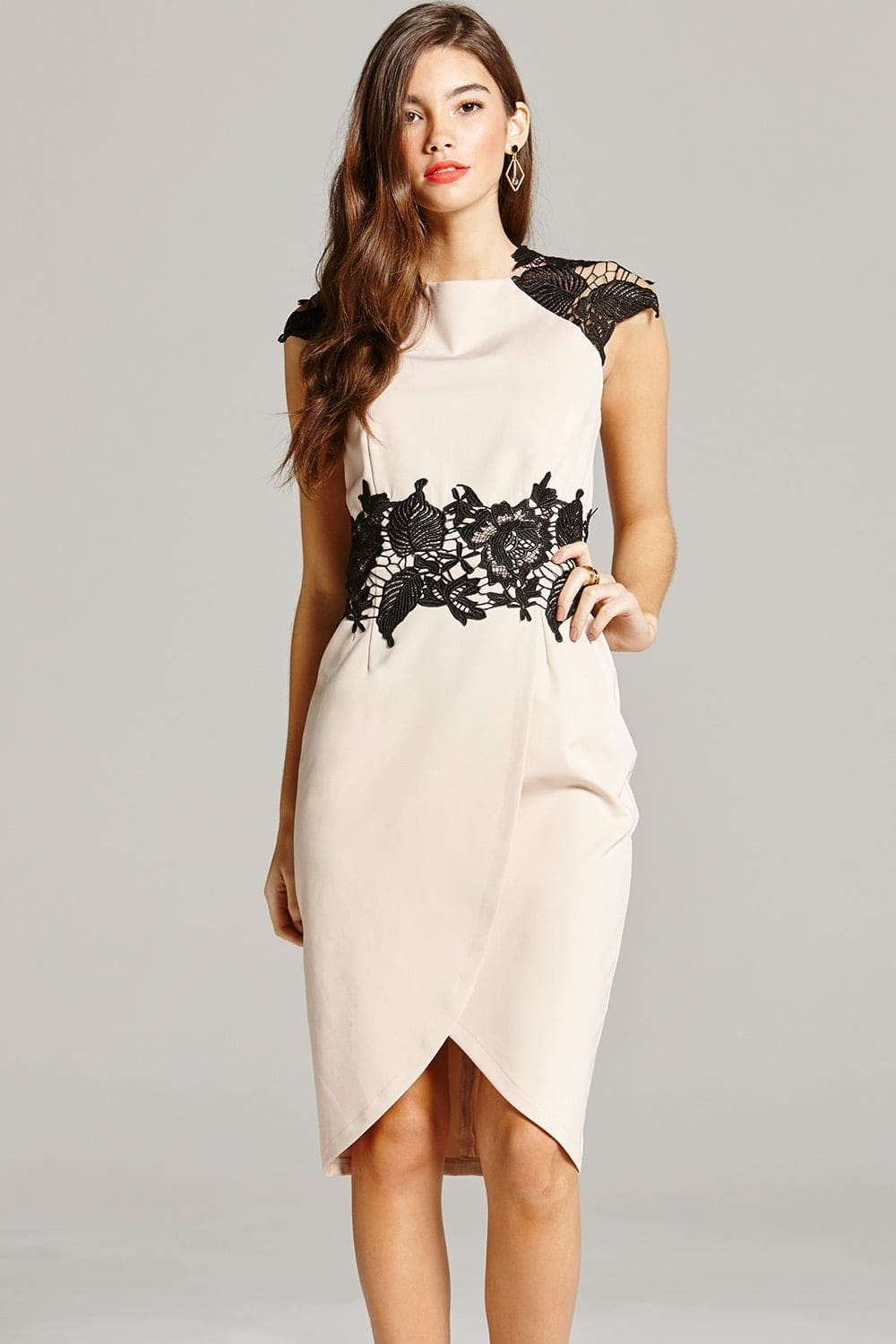 Nude And Black Lace Midi Dress From Little Mistress Uk
