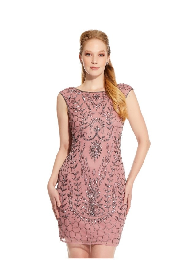 Beaded Cocktail Dresses with Sleeves,Beaded Dress,Hailey Logan Dresses,Blush Lace Beaded Short Cocktail Dresses,Short Beaded Dress,Hailey Logan Dresses,Beaded Short Cocktail Dresses,beaded dress,