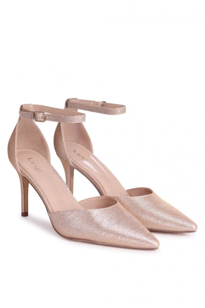 MACI Champagne Glitter Fabric Stiletto Court Heel With Ankle Strap