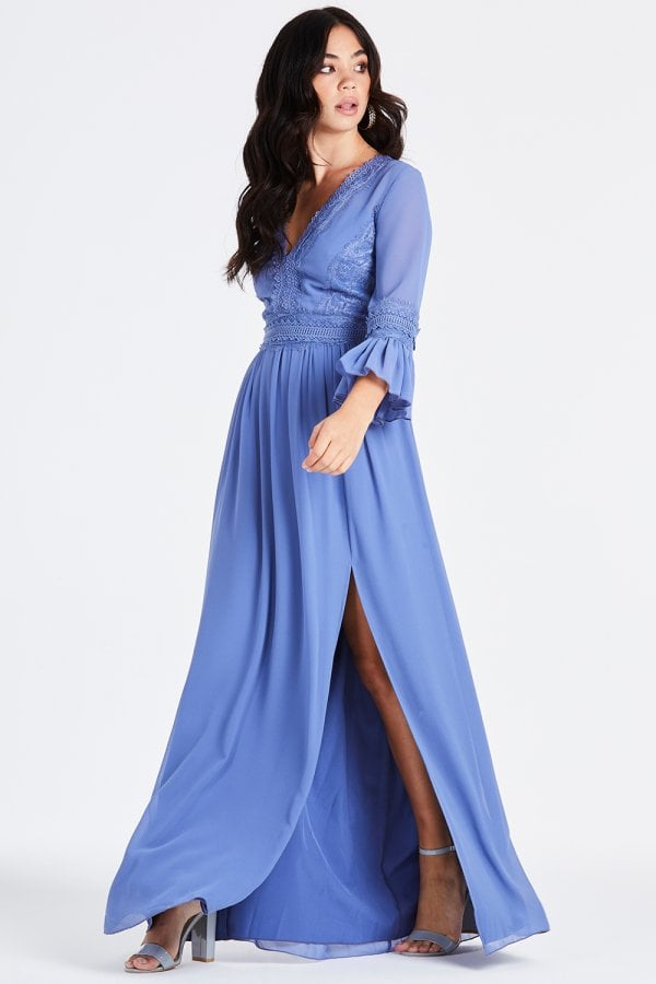 Little Mistress Tamsin Blue Plunge Midaxi Dress size: 12 UK, colour: H