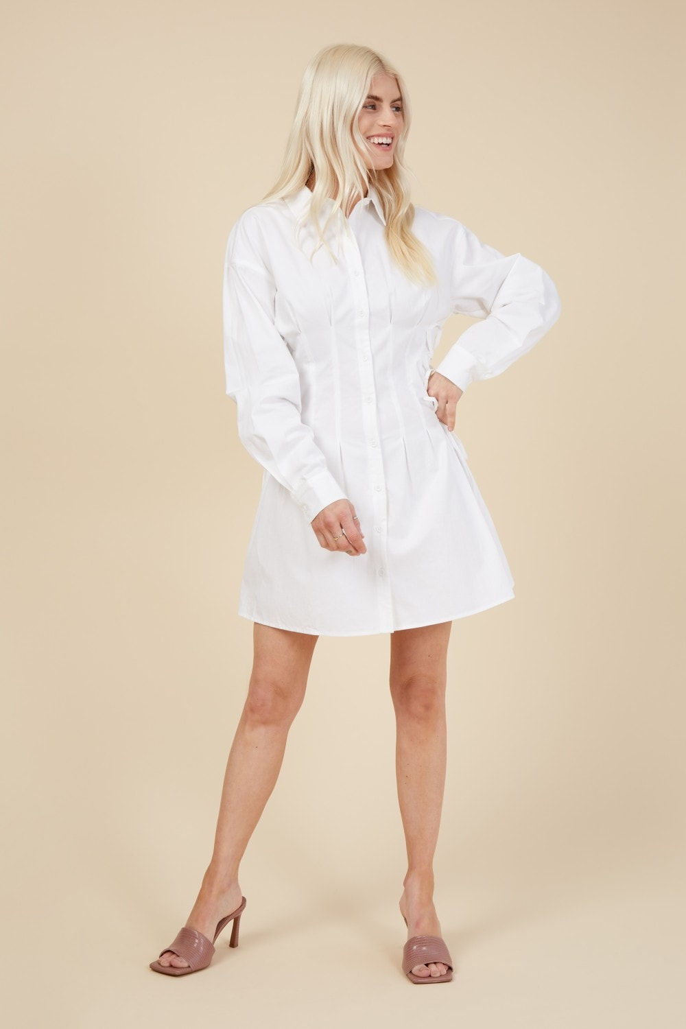 Pretty Darling White Lace up Fitted Waist Long Sleeve Shirt Dress