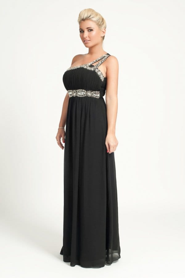 Little Mistress Black Embellished Maxi Dress