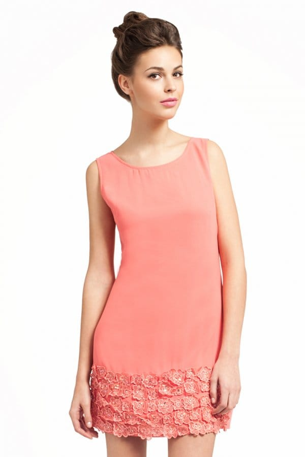 Coral Sleeveless Shift Dress With Floral Applique