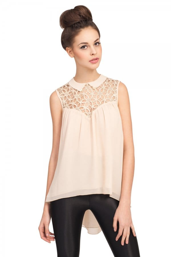 Cream Sleevless Peter Pan Collar Lace Blouse