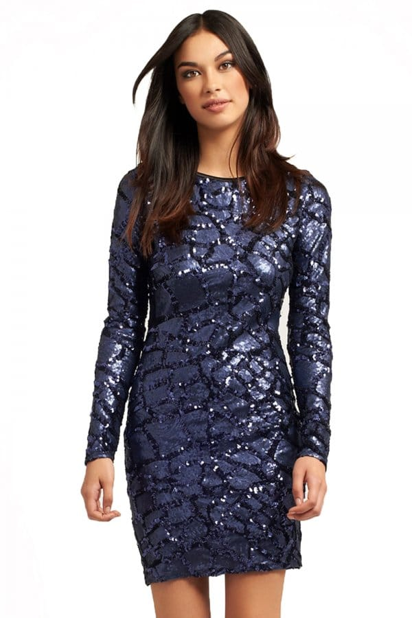 Little Mistress Navy Long Sleeve Sequin Scoop Back Dress