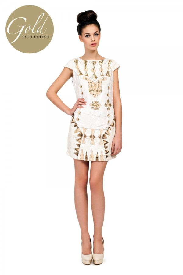 Cream Heavily Embellished Sequin Detail Dress