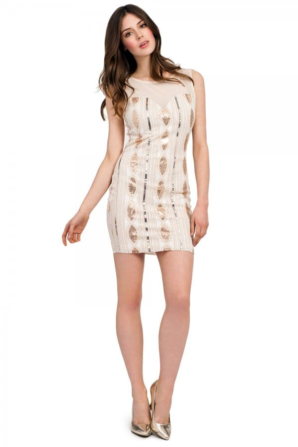 Cream &amp Gold Sleeveless Sequin Dress