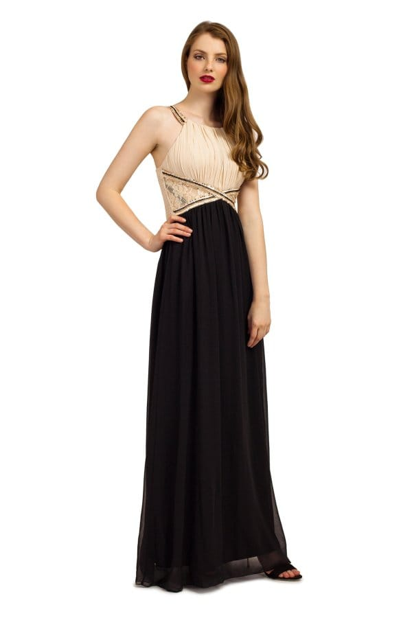 Cream & Black Embellished Lace Panel Chiffon Maxi Dress