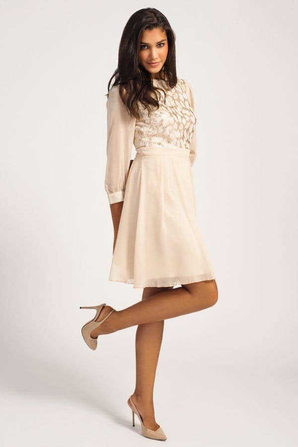 Cream Amp Gold Lace Sequin Embellished Dress