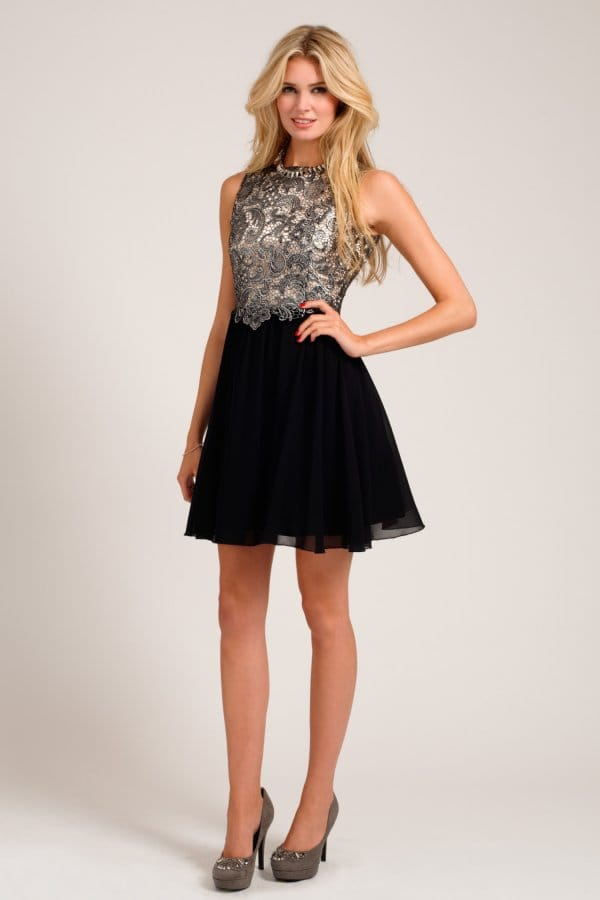 Silver & Black Metallic Lace Overlay Skater Dress