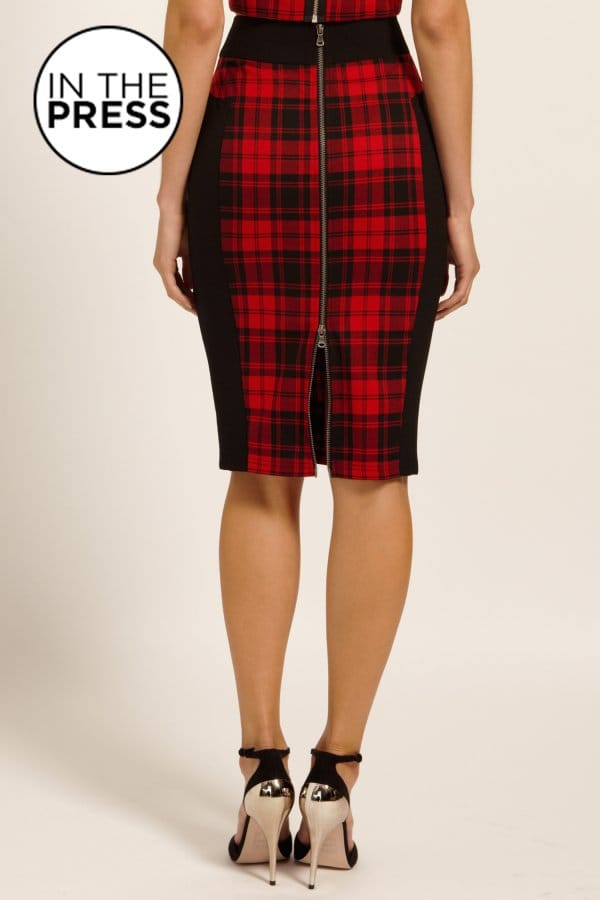 Red & Black Tartan Check Bodycon Skirt